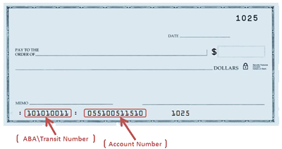 Blank Check Showing Location Of Routing Number and Account Number